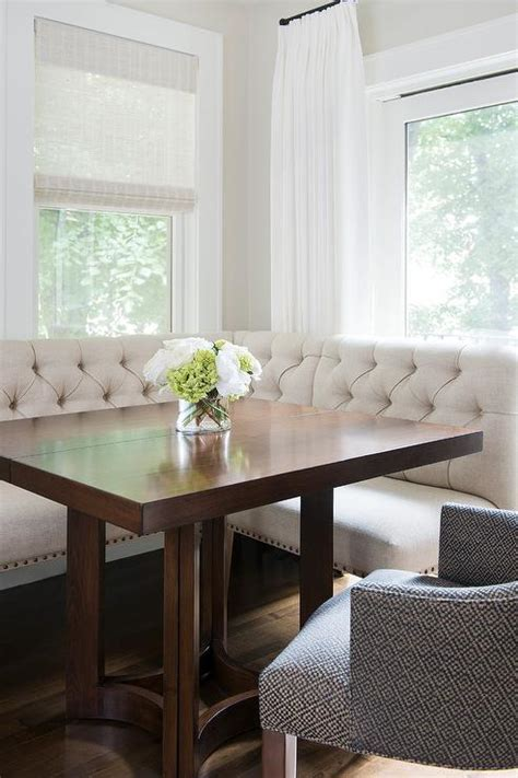 ivory linen tufted dining banquette square dining table transitional dining room