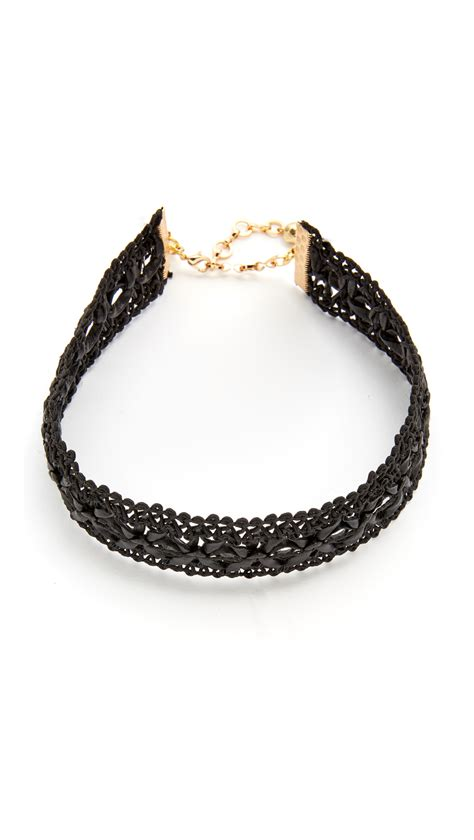 mooney leather lace choker necklace in metallic lyst