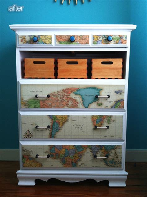 mod podge maps onto a dresser replace drawer with baskets