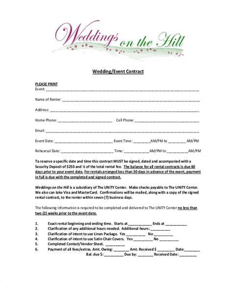 sample event contract forms  word