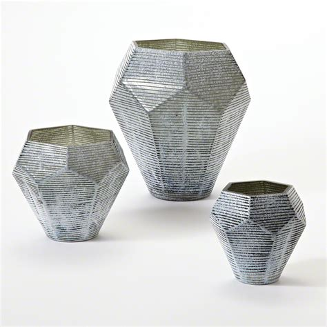 Grey Vase by Global Views Faceted Stria Vase Grey Large
