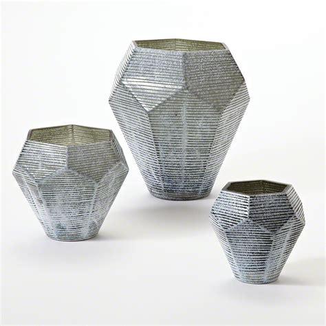 Big Grey Vase Global Views Faceted Stria Vase Grey Large