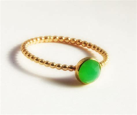 cut chrysoprase ring dainty stackable gold ring