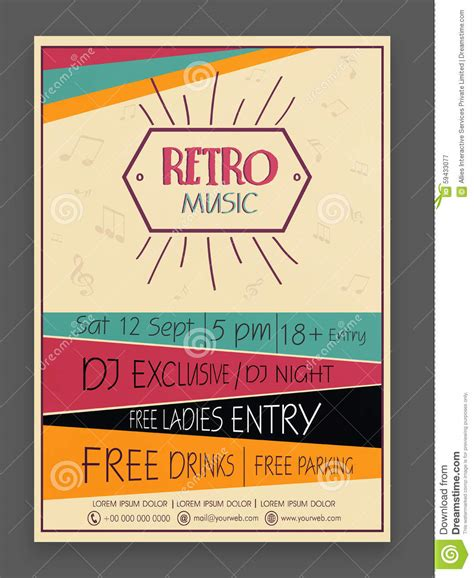 Retro Music Party Celebration Flyer Or Template Stock Image Image 59433077 Celebration Flyer Template