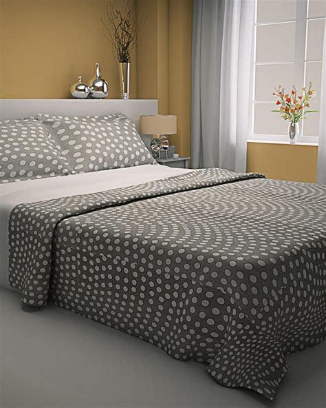 Pattern Bed Sheets by Zapprix Grey White Pattern Polka Dots Bed Sheets With Two