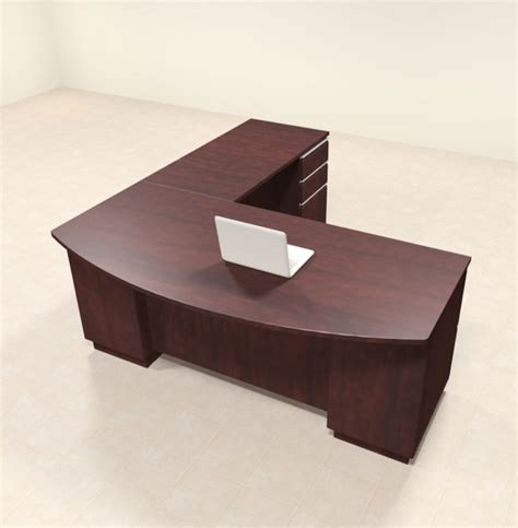 4pc Modern Contemporary L Shaped Executive Office Desk Set