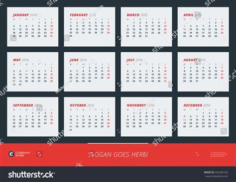 wall calendar poster 2016 year vector stock vector