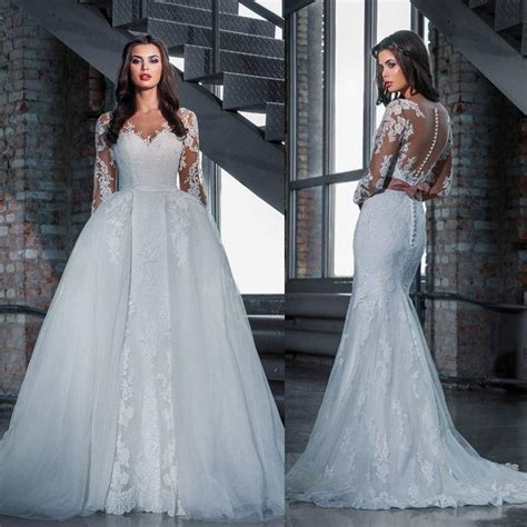 2016 Modest Mermaid Full Lace Bridal Wedding Dresses With