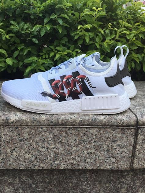 custom paint womens adidas nmd snake run casual shoes white color athletic shoes athletic