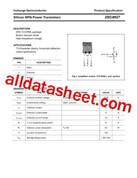 transistor company 2sc4927 데이터시트 pdf inchange semiconductor company limited