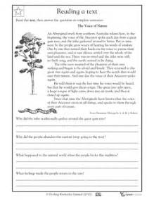 Grade 4 Comprehension Worksheets Free by Reading Comprehension Aboriginal Myth Indigenous