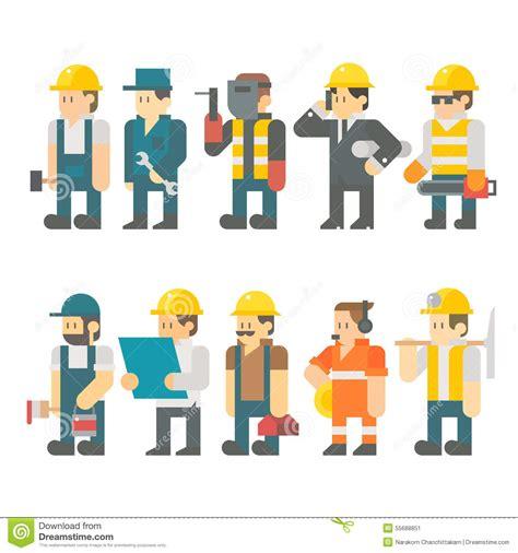 layout worker flat design of construction worker set stock vector