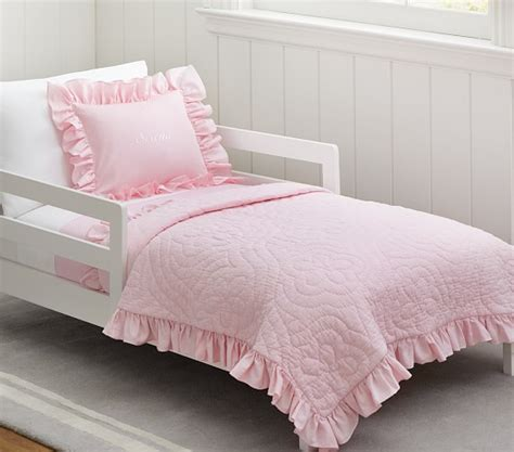 toddler bed quilt ruffle toddler bedding pottery barn kids