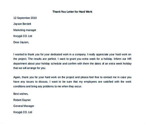 35 thank you letter template thank you letter to employees sle employee thank you