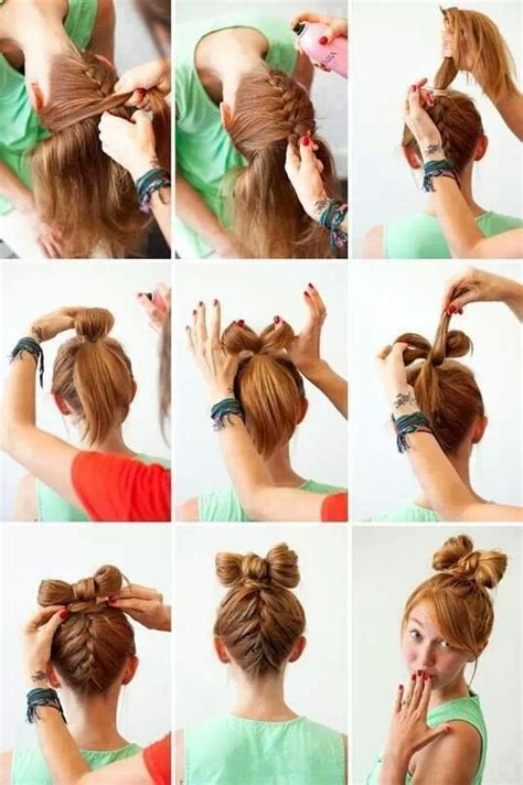 cute diy hairstyles easy cute bow bun step by step hairstyles pinterest
