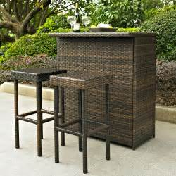 Outdoor Bars Furniture For Patios 3 Pc Outdoor Patio Furniture Wicker Resin Bar Stools Deck Pub High Top Set Ebay