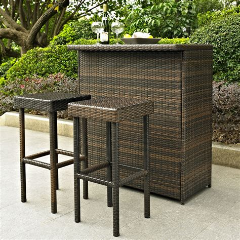 3 pc outdoor patio furniture wicker resin party bar stools deck pub high top set ebay