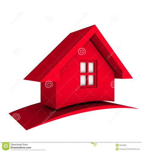 home design 3d logo 3d red house with swoosh logo icon stock illustration