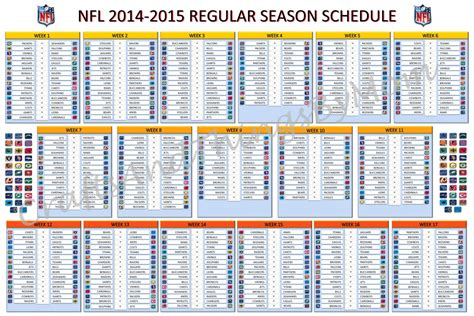 printable entire nfl schedule printable full nfl schedule 2014 regular season html
