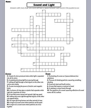 Light Worksheet Answers by Properties Of Sound And Light Waves Worksheet Crossword