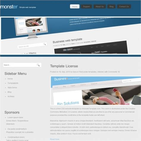 monster template free website templates in css html js