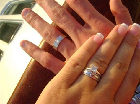 thin e ring with a wider wedding band weddingbee