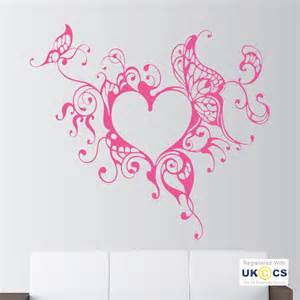 Wall Decals For Girls Bedroom heart swirl butterfly floral girls bedroom wall art
