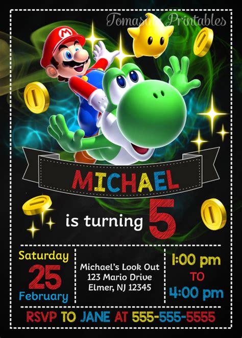 Super Mario Birthday Invitation Mario Invite Super Mario Printables Tomasinaprintables On Mario Invitations Template Free
