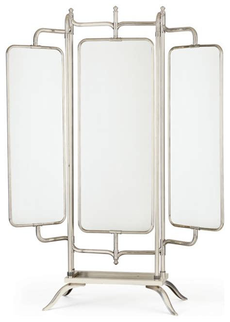 ariel triple panel mirror transitional floor mirrors
