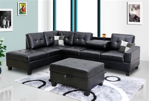 Black Sectional Sofa Black Faux Leather Sectional 8077801 Black Sectional Sofas Price Busters Furniture