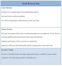 Small Business Template Small Business Plan Format Of Small Business Plan