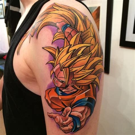 dragon ball z tattoo sleeve dragonballz saiyan goku 3 i did today dane grannon