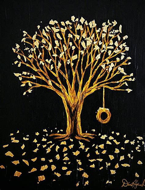 gold tree gold tree tire swing painting by david