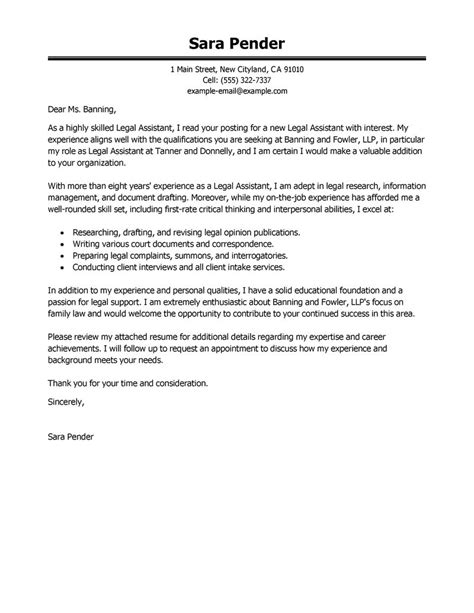 cover letter for attorney position best assistant cover letter exles livecareer