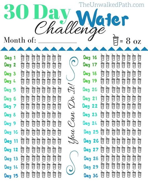 7 day hydration challenge 30 day water challenge free printable free printable