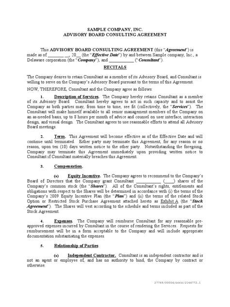 advisory board agreement template sle advisory board agreement trade secret patent