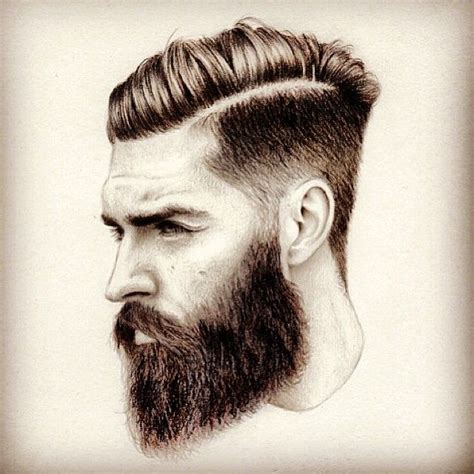 artist of hairstyle bearded man sketch art artwork drawing arts undercut hair