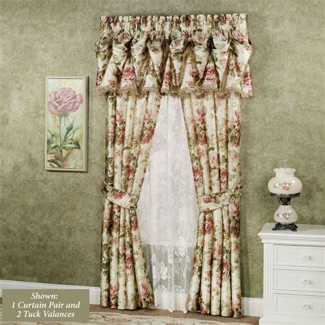 drapes with valance springfield floral tuck valances and curtains