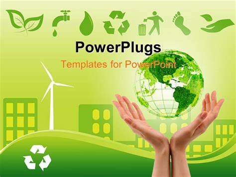 Powerpoint Template Green Environmentally Conscious City View With Clam Energy Source And Environmental Powerpoint Templates