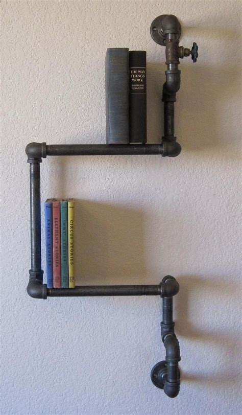 plumbing pipe shelves industrial plumbing pipe shelf all metal by vintagepipedreams pvc pipe creations uses
