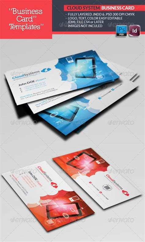 3 5x2 business card template psd graphicriver cloud systems business card template
