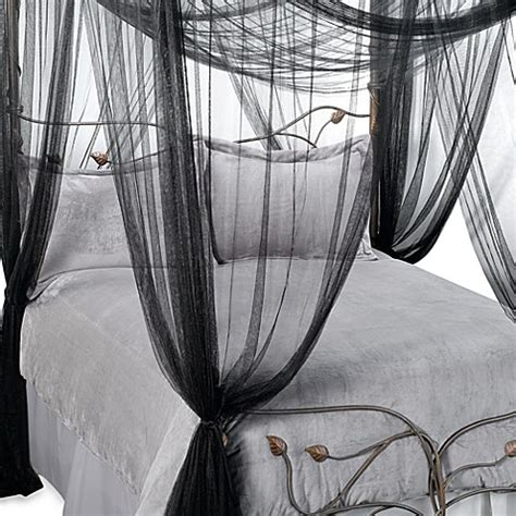 black canopy bed curtains majesty bed canopy in black www bedbathandbeyond ca