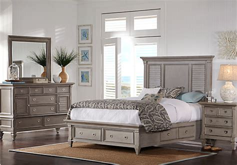 7 pc bedroom set belmar gray 7 pc queen panel bedroom with storage