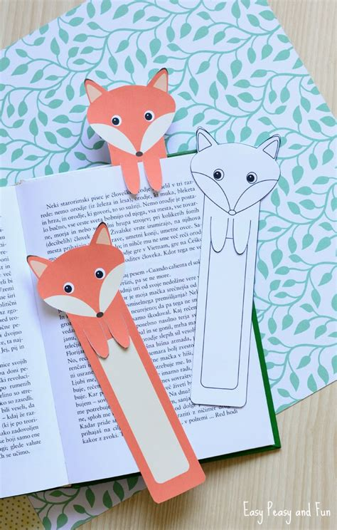 paper craft ideas for free printable fox bookmarks diy bookmarks easy peasy and