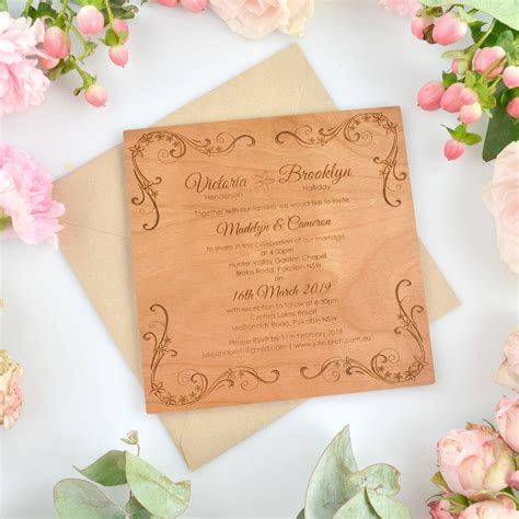 Square Wedding Invitations by Engraved Square Wooden Wedding Invitations Personalised