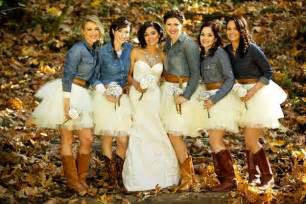 love the bridesmaids dresses with boots the country