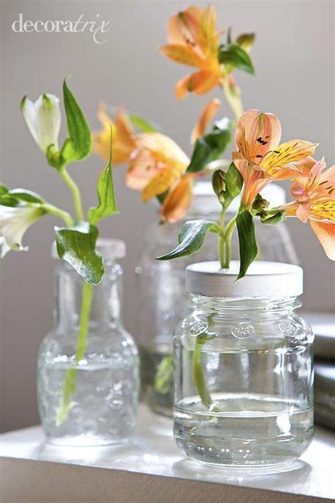 floreros con frascos de vidrio floreros en tarros de cristal