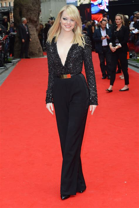 emma stone jumpsuit emma stone wore a black jumpsuit to the uk premiere of the