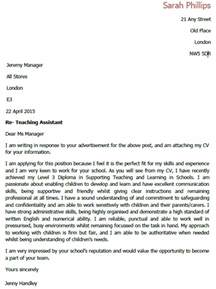 Cover Letter For Teachers Assistant Application Letters For Teaching Assistant