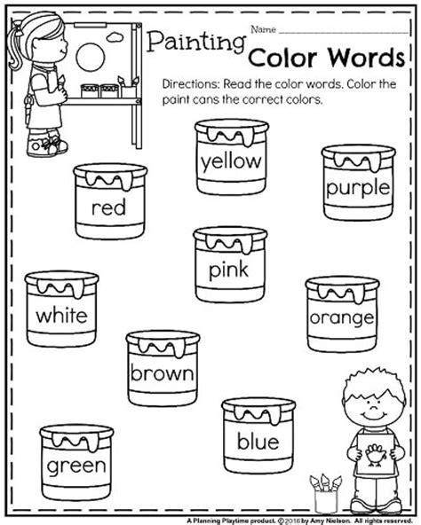 color words worksheet back to school kindergarten worksheets planning playtime